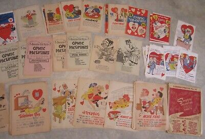 "HUGE Wholesale LOT of 125+ Old 1940's-50's - ""Snappy"" - VALENTINES COMIC SHEETS"