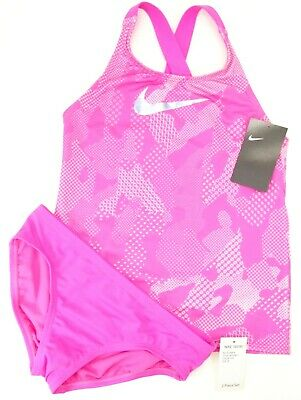 New Nike Swim Girls Sporty Halo Pink Two Piece Tankini Swim Suit M 10-12 YRS