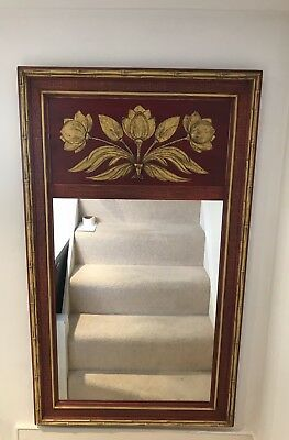 Classic Large Vintage style Mirror Red/Beige carved Floral Detail - Excellent