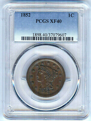 1852 Large Cent Pcgs Xf40