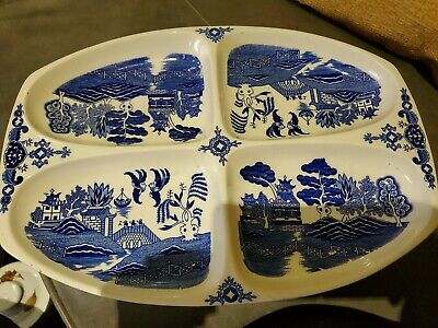 Vintage Japanese Plate / sering platter/ blue and white pattern