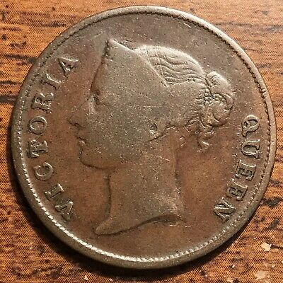 1862 Straits Settlements One Cent Queen Victoria Colonial Coin Fine Condition