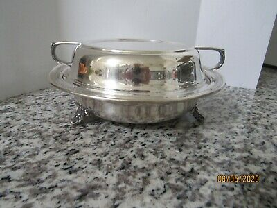 Vtg.  Sheffield  Silver Plated Lidded And Footed Bowl With Slver Devided Insert