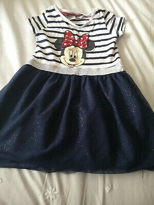Girls age 3-4 dress. Navy blue tulle skirt white stripe top Minnie Mouse Dress