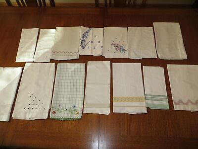 Lot of 14 Vintage Guest Hand Towels Boudoir Embroidery Applique Cutwork Pairs