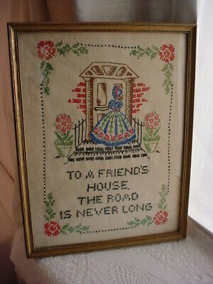Friends House Embroidered Sampler Picture Framed Quote 13 Inch