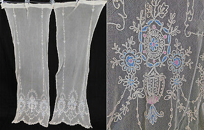 Antique White Net Pastel Tambour Embroidery Lace Drapery Curtain Panel Pair Vtg
