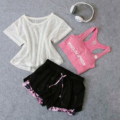 Women Workout Sportswear Set 3pcs Yoga Gym Sport Top Bra Shorts Running Fitness