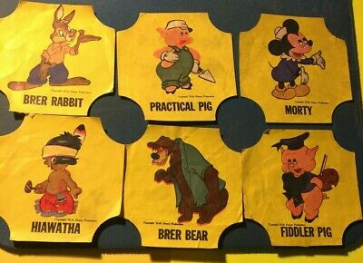 Disney characters 1950s Sunbeam bread labels RARE Morty, Fiddler Pig, Hiawatha