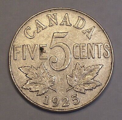 1925 CANADA King George V RARE DATE nickel five cent KM-29