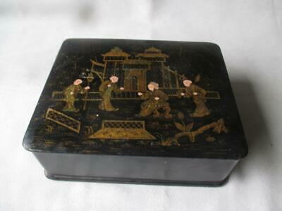 Great Vintage Chinese Paper Mache Lacquer Box