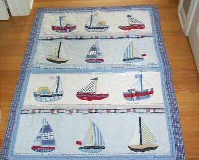 Pottery Barn Kids Blue Crib Toddler Bed Quilt / Comforter ~ Sailboats, VGC