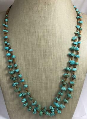 Gorgeous gradual size multi-strands rustic turquoise nuggets necklace/(t736b-w3)