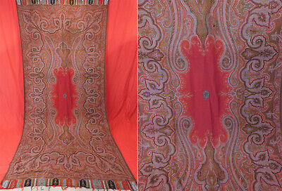 Victorian Antique Large Banquet Size Jacquard Loom Wool Red Center Paisley Shawl