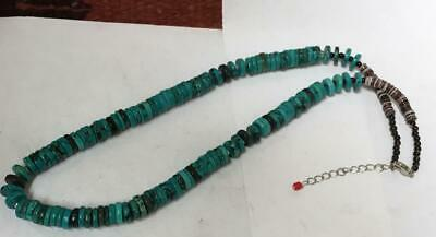 """vintage dark green Turquoise disc bead necklace/20.5"""" /(w182h-w2.5)"""