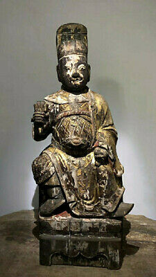 A Rare and LARGE Chinese Antique Ming Dynasty Gilt Phoebe Nanmu Carved Buddha