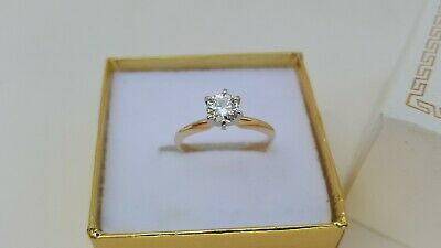 14K Yellow Gold Round Brilliant Cut Diamond Solitaire Engagement Ring SEE VIDEO