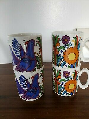 Set Of 4 Villeroy And Boch  Acapulco Coffee Mugs Cups Luxembourg