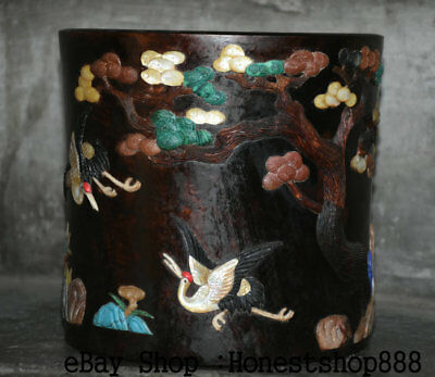 "7"" Rare Old Chinese Sandalwood inlay Shell pine tree Crane Brush Pot Pencil Vase"