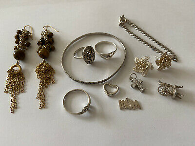 Small Joblot Sterling Silver Jewellery Rings Earrings Bracelet Bangle Pendants