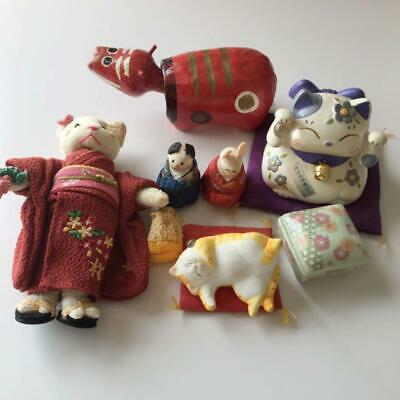 Vintage antique Japanese doll Chirimen Kimono cat ornament Hina dolls Akabeko m