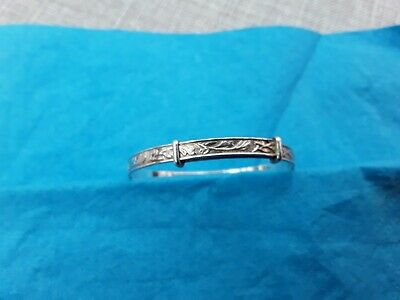 Real Solid Silver Newborn Baby Bangle Christening Expandable Bracelet