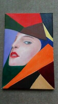 Abstract Oil Painting Girls Face With Coloured Shapes Canvas Original