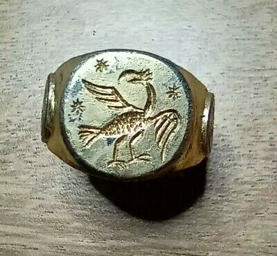 Late Byzantine Silver Gilt Ring Depicting The Symbol Of Their Empire - The Eagle