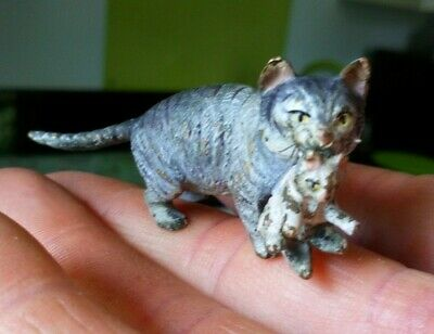 Genuine Antique Austrian Cold Painted Bronze Mother Cat And Kitten