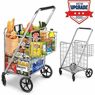 Shopping Cart, Jumbo Double Basket Grocery Cart 330 lbs Capacity Folding