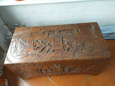 Chinese Camphor Wood Chest - Hand Carved. Blanket Box, Storage Box