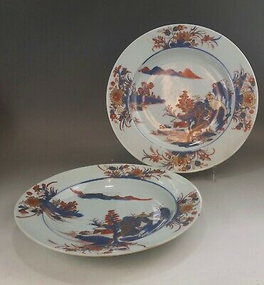 A pair of very fine Chinese 18C landscape plate-Kangxi