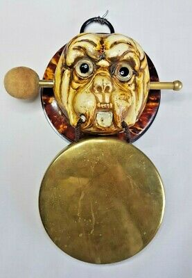 Antique Vintage Brass Gong Featuring A Dogs Head 11.5 Cm Diameter Gong.