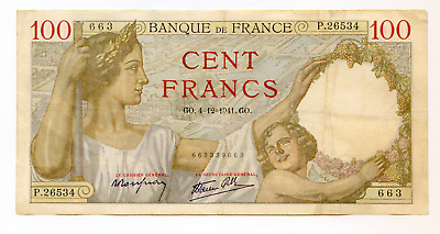 France 100 Francs 1941 issue Pick 94  lotfeb5588