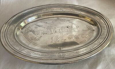1924 Christofle 'Chasseurs Reunis' Silver Plate Serving Platter French Antique