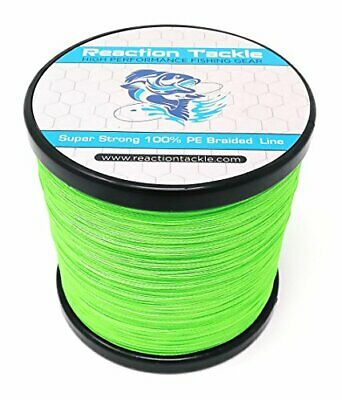 Reaction Tackle High Performance Braided Fishing 40LB (150 yards) Hi Vis Green