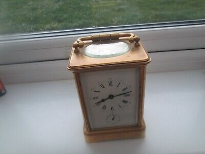 Large  Vintage Carriage Clock Brass With Alarm