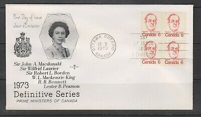 Can 591 - 1973 6c Caricature Definitive - Tenant Block of 4 FDC by Rose Craft