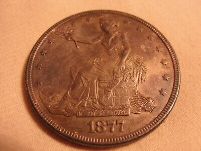 1877  Silver U.s. Trade Dollar For Collection A3070-71