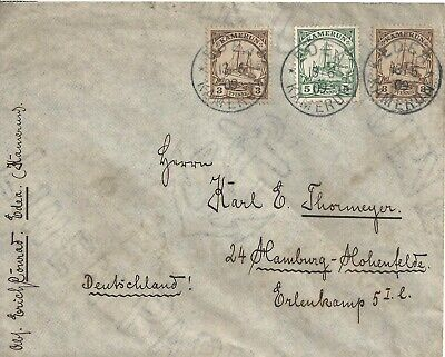 German Colony Kamerun Cameroun - 1909 Edea Cover to Hamburg with 3 Stamps