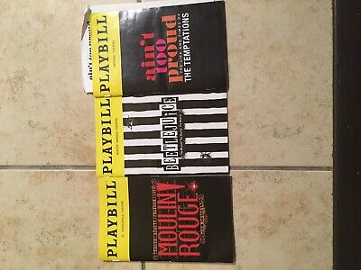 Lot Of 3 Playbills Moulin Rouge, Bettlejuice, Ain't Too Proud