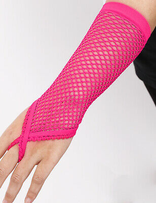 Sissy Womens Fishnet Gloves Elbow Length Fingerless Finger Loop Gloves Clubwear