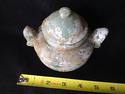 Beautifully Carved Antique Chinese Green Jade Censer