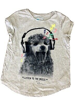 GAP KIDS Girls ED Ellen DeGeneres LISTEN TO THE MUSIC Graphic T-shirt 14 16 grey