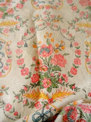 A Pretty Vintage/Antique French Linen Garland & Ribbons Design Panel