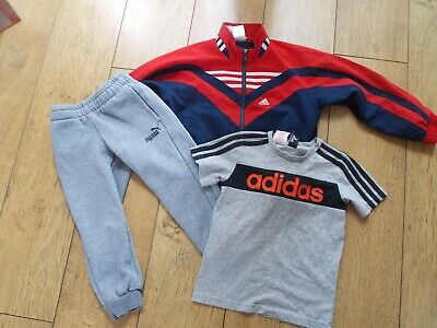 Boys Adidas Puma Tracksuit Top Joggers T-Shirt Age 5-6 Years