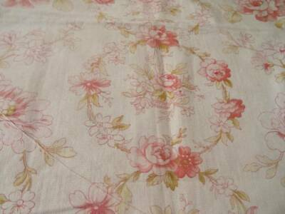 A Beautiful Antique French Floral Fabric With Garlands & Floral Baskets