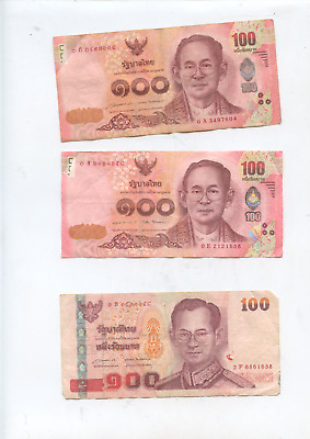 Thailand 5 old used  Banknotes. 420 Thai Baht Total.Thai Currency, money