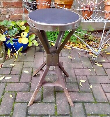 Machinist/Engineer Factory Stool~Evertaut~Industrial~Workshop~Leather Seat~1930