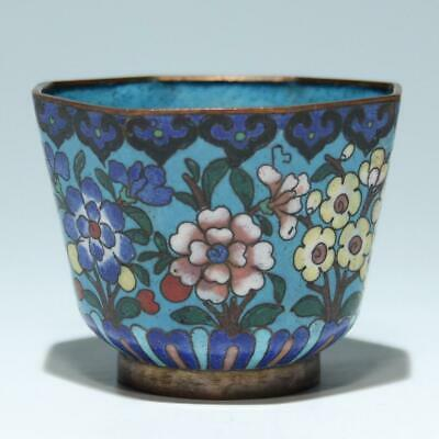 Old Chinese Cloisonne Flowers Cup - 5,8 cm